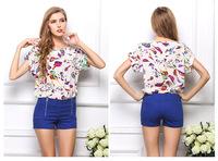 2014 NEW CHIC! Free Shipping Sexy Women Summer Colorful Birds Chiffon Shirt Batwing Loose Blouse Casual Tops For Women 1213