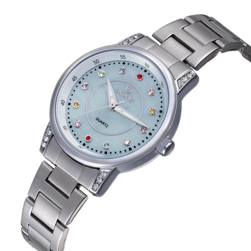 Skone Women Watches Stainless Steel Band Quartz Watch Analog Display Fashion Design Lady Watch Women's Wristwatch(China (Mainland))