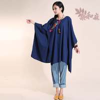 [ LYNETTE'S CHINOISERIE - Sang ] 2014 national trend women's chinese style fluid plate buttons embroidered cloak top shirt