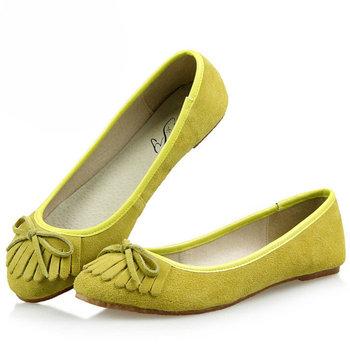 Новый 2015 wЖенщины мода бренды кисточкой луки натуральная кожа плоские женской обуви ...