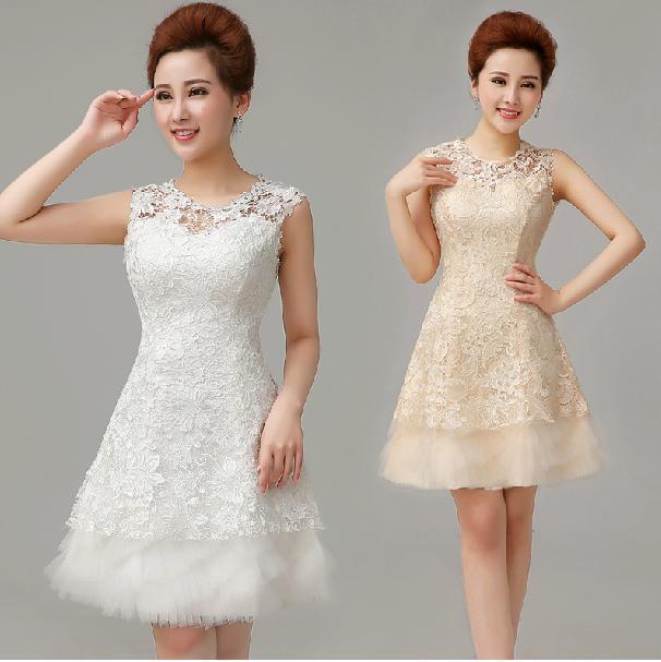 Korean New 2014 Lace Wedding Dress Sleeveless Princess Short Wedding Gown Toast Clothing White
