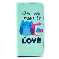 Owl You Need is Love Cartoon Owl Bird 8 Designs PU Leather Case Cover for Samsung Galaxy S4 Mini i9190