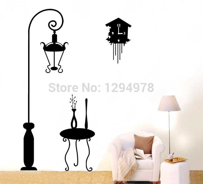 Small table Large Alarm Clock Night Lights Street Lights Vase DIY Removable Wall Stickers Home Decor Mural Decal LD642(China (Mainland))