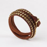 Vintage multi pyramid Hilton love wrapped leather bracelet free shipping men women