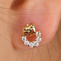 EJ-0060, Wholesale channel earrings cz  earring,18k rose gold plated jewelry popular stud earring for girl factory price