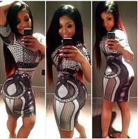 2014 Hot Selling New Style Geometric Mini Dress Bandage Bodycon Dress Ladies Celebrity short Sleeve Dress Sexy Dresses S M L