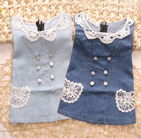 2014 New Style Lace Collar Jean Dresses/Children /Kid/ Baby Girls'  Jean Dresses{iso-12-6-11-A3}