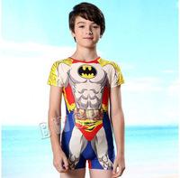 2015 new children swimwear sports one piece swimsuit child with sleeves sunscreen super man swimming trunks,boy/kids' beachwear