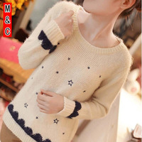 M&C S387 winter sweater women embroidery mohair pullover sweater slim fashion