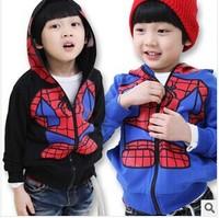 2014 autumn/spring New fashion Children clothing Spider man large Children Coat Boys Jacket Spiderman Outerwear Kids hoodies