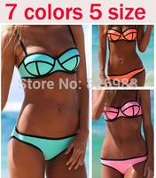 High Quality 2014 Sexy Women's Push Up Underwire Neon Neoprene Swimwears Triangl MILLY Neoprene Bikinis Neoprene Swimsuit Set