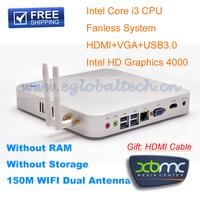 Cheap MINI ITX Computer With Barebone System Intel Core I3 3217U HD 4000 Graphics Fanless MINI PC Free Shipping Support 3D Game