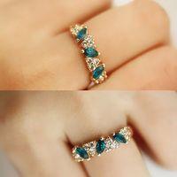 Antique Retro Emerald Rhinestone Crystal Finger Ring Wholesale Jewelry Ring O Y50*MPJ052#S7