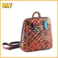 New Leather Woven Retro Bag Shoulder Backpacks Travel Women Bag Free Shipping