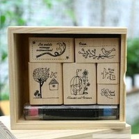 Shinzikatoh DIY Wooden Box Vintage Birds Cats Stamps with pen for Diary Decoration Scrapbooking Creative Gift Free shipping 247
