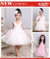 2014 spring summer children's tutu white pink halter beads flower girl dresses for weddings children princess prom party skirt