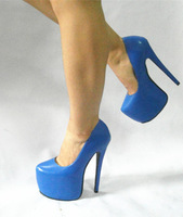 ~custom made~ 7Inches high-heels blue PU and White PU sexy men's big size pumps,size range 35-47