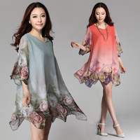 L-XXXL Casual Chiffon Dress 2014 Summer Autumn O-Neck Half Sleeve Ruffle Hem Print Irregular Hem A-line Knee-Length  NL50