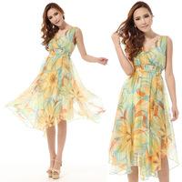 2014 summer new women elegant silk flowers women  long dress female bandage dresses Free shipping