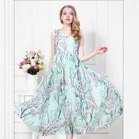Summer 2014 women's new long  dress sweet chiffon flowers print maxi dress women Free shipping