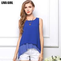 High Quality ! Fashion Women's Vest Top Medium-Long Double Layer Irregular Color Block Sleeveless Chiffon T-Shirts 1217