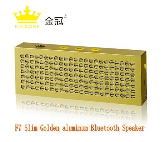 Newest Kingone F7 slim Golden aluminum Bluetooth wireless outdoor speaker,mini portable Hi-Fi stereo speaker with TF card play(China (Mainland))