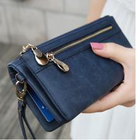 2014 New Women Clutch Multifunctional Organizer Candy Color Zippers Handbag Coin Purse Phone Bag Card holder wristlet strap Drop