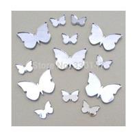 100pcs/lot 2*2cm butterfly Wall mirror sticker garment scraper DIY accessory Home Decor