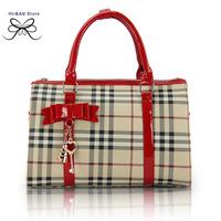 2014 new arrival vintage classical women handbag fashion plaid pretty style shoulder bag high quality  lady party messenger bag