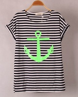 6 colors Navy Striped with Printed Anchor Bear women T-shirts short Baw Sleeve t shirts Stretch Cotton tees Modal tops S/M