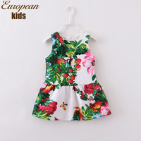 Pre-Sale 2014 Autumn & Winter Italy brand girls floral dress, jacquard weave kids girl dress, european children dress 2-12Y