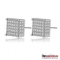 Luxury Women Earrings Stud 18K Gold /Platinum Plate Pave AAA Swiss Cubic Zirconia Wedding Square Earrings Hot Selling CER0106