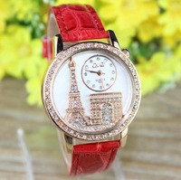 5pcs/Lot Women Watches Tower Casual Rose Gold CaiQi Analog Crystal Hours Ladies Quartz Watch XK11