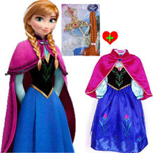 1pieces retail, new 2014 Frozen Elsa Anna costume princess dress sequined cartoon costume Free shipping girls dresses.(China (Mainland))