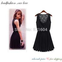 2014 casual vestidos de festa  longo tunic sexy  summer cotton lace black party dress for women clothing adventure time