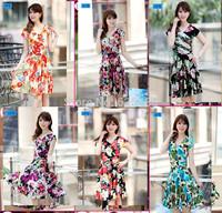 2014 Hot selling Fashion New Women Dress Summer Multicolor Digital Printing Dresses V-neck short sleeve casual dress Plus Size