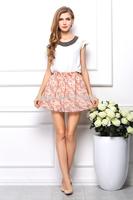 2014 Women HOT sale skirts Floral fashion skirts Upscale chiffon skirt 7 colors free shipping