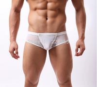 Men yarn briefs permeability sexy low rise U convex transparent fashion underwear briefs mesh underwear penis sheath gay man