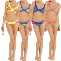 Sexy Women's  Padded Bra Bandage Bikini Sets Swimsuit Bathing Suit Women Swimwear Lady Swimsuit Triangle Top 1set/lot