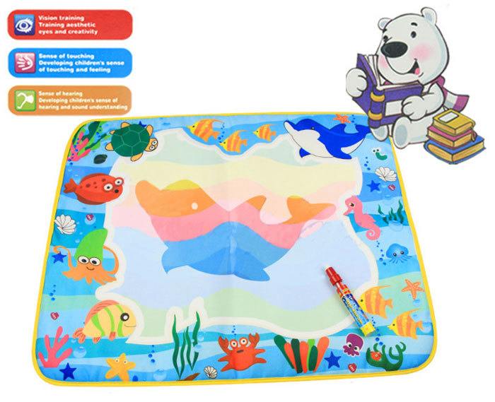 60*49cm 4 colors Water Drawing Toys Mat Aquadoodle Mat Magic Pen Water Drawing board baby play mat HT576 Free shipping(China (Mainland))