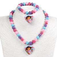 New 2014 Fashion  jewelry cute Dora jewelry sets children kid's necklace bracelet wholesale  PAS-3212