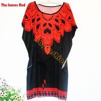 2014 New Fashion Hot Sale Women Sundress Autumn-Summer Floral Printing Batwing Sleeve Summer Beach T-Shirt Dress b4 SV003121