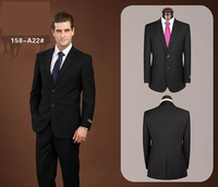 2014 Hot Sale Wedding Dress From Groom Suit Set Slim Fit Two Buttons For Men Black And Navy,Mix size for jacket and pant A158A22