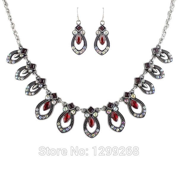 Min Order $5 Whole Sale Red Rhinestone Romantic Pendant Drop Jewelry Set For Women(China (Mainland))