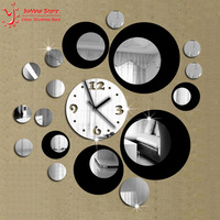 Double Color 2014 New 3D Home Decoration Wall Stickers Decal DIY Vintage Mirror Wall Clock Modern Design Watch Wall Home Decor