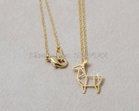 Min 1pc Gold and Silver Origami Deer Necklace, Cute Brass Pendant Neckalce Animal Necklace XL067