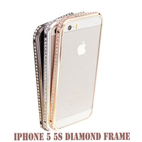 Luxury Crystal Rhinestone Bumper Frame For iPhone5 5s 5G Diamond Gold Slim Shining Bling Case For iPhone 5 Free Screen Protector