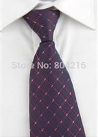 High Quality Men Narrow Necktie Neck Tie Zipper Zip Up twill checkered 12
