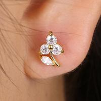 EJ-0175, Flower earrings Fashion hot popular plum rod brass earring white gold plating wing Earrings wholesale jewelry