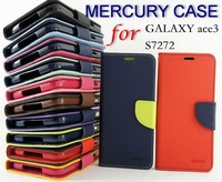 Mercury Wallet PU Leather Flip Cover Case For Samsung Galaxy S/Y Duos S7562 S7560 S7272 S5830 Card Holder case 100pcs/lot